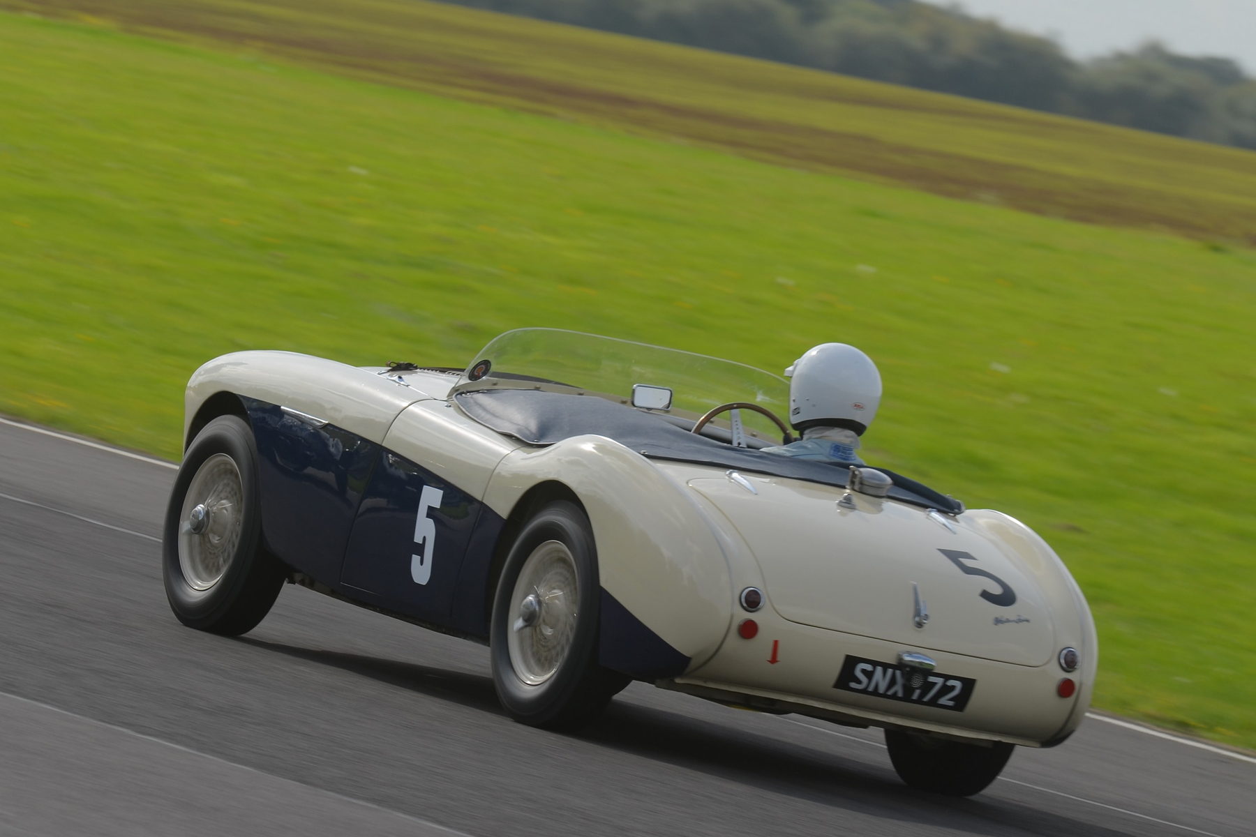 Paul Griffin, first time out in his Austin Healey 100S. He qualified 21st but although improving on his lap time in the race, finished 25th having suffered intermittent ignition 'gremlins'.                    Photo - Ollie Read