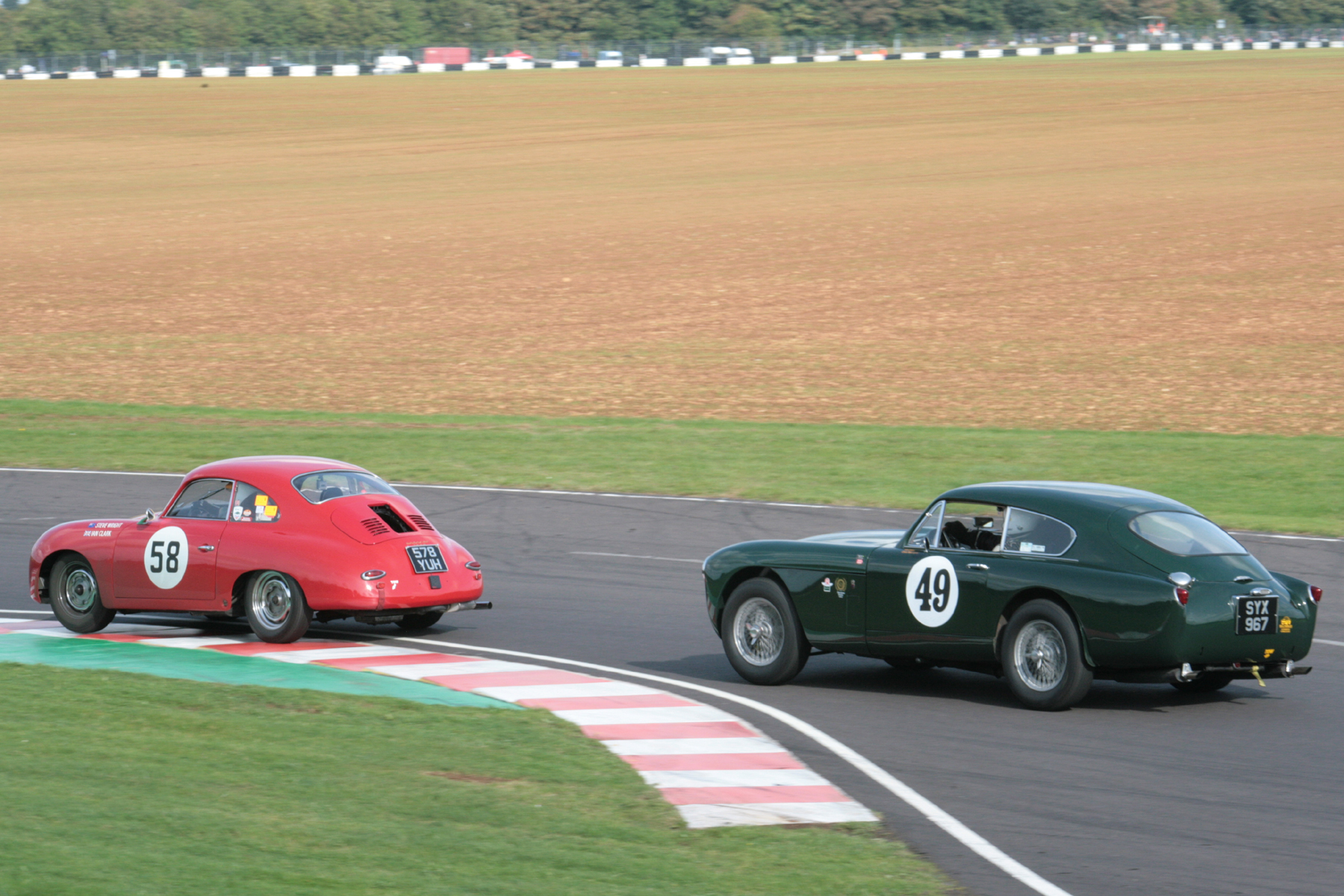 Steve Wright (Porsche 356) comes under increasing pressure from Chris Woodgate in the DB MKIII   Photo - John Turner