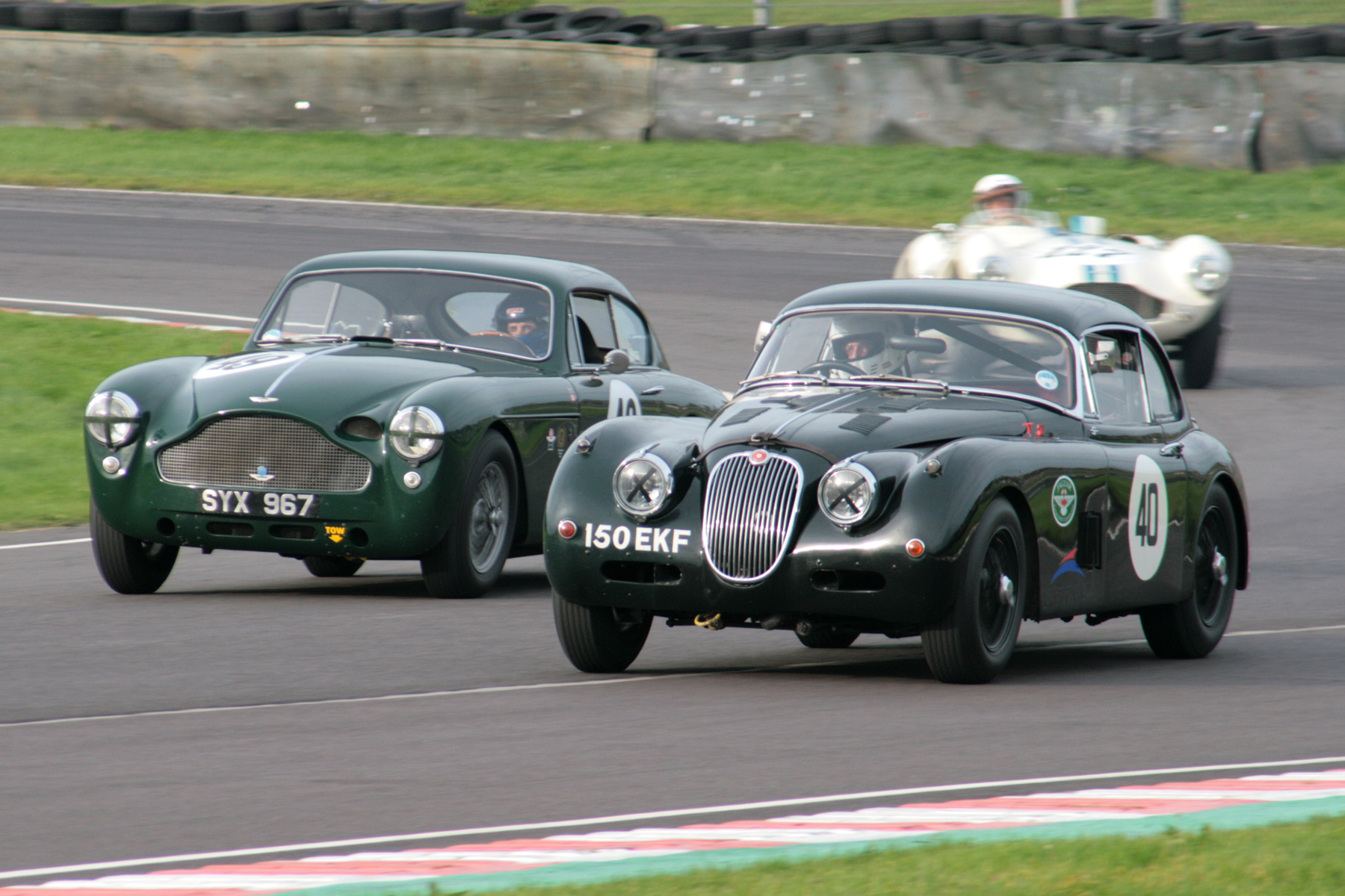British Racing Green heavy metal. Bruce Chambers in his first outing with us in the Gross family Aston Martin DB MkIII and sharing with Chris Woodgate (22nd) and Claire Keith- Lucas in the Jaguar XK150 (DNF). Both cars represent the last of their line. Classic iconic cars in their own right, they were each replaced by true Icons of the 20th century, the DB4 and E type!  Photo - John Turner