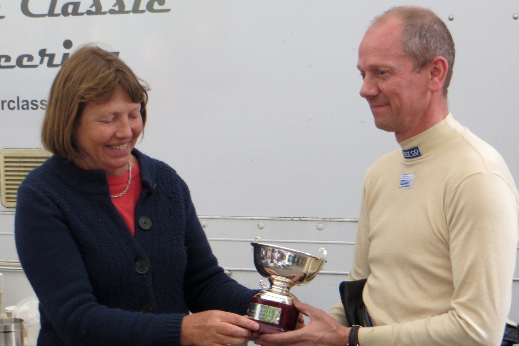 In a lovely touch, Sue Gross presents David Freeman with The Mort Goodall Cup.