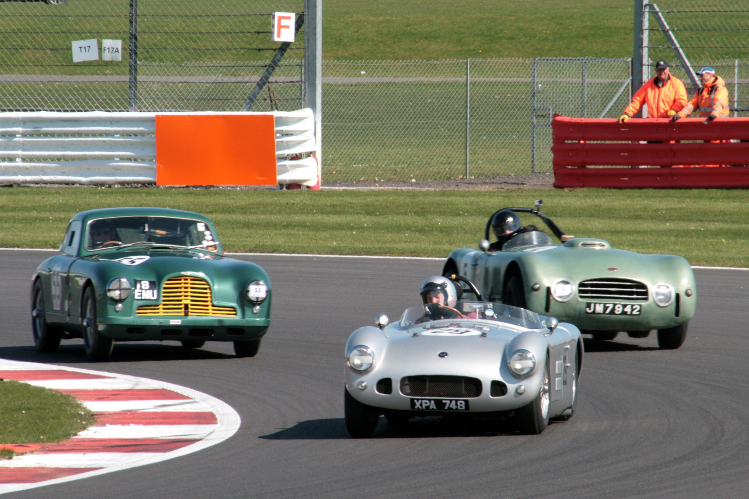 Great British Sports cars battle for 2nd - HWM (Spike Milligan), Aston DB2 (Andrew Sharp)) & Allard J2X Le mans (Tom Walker)  Photo - John Turner