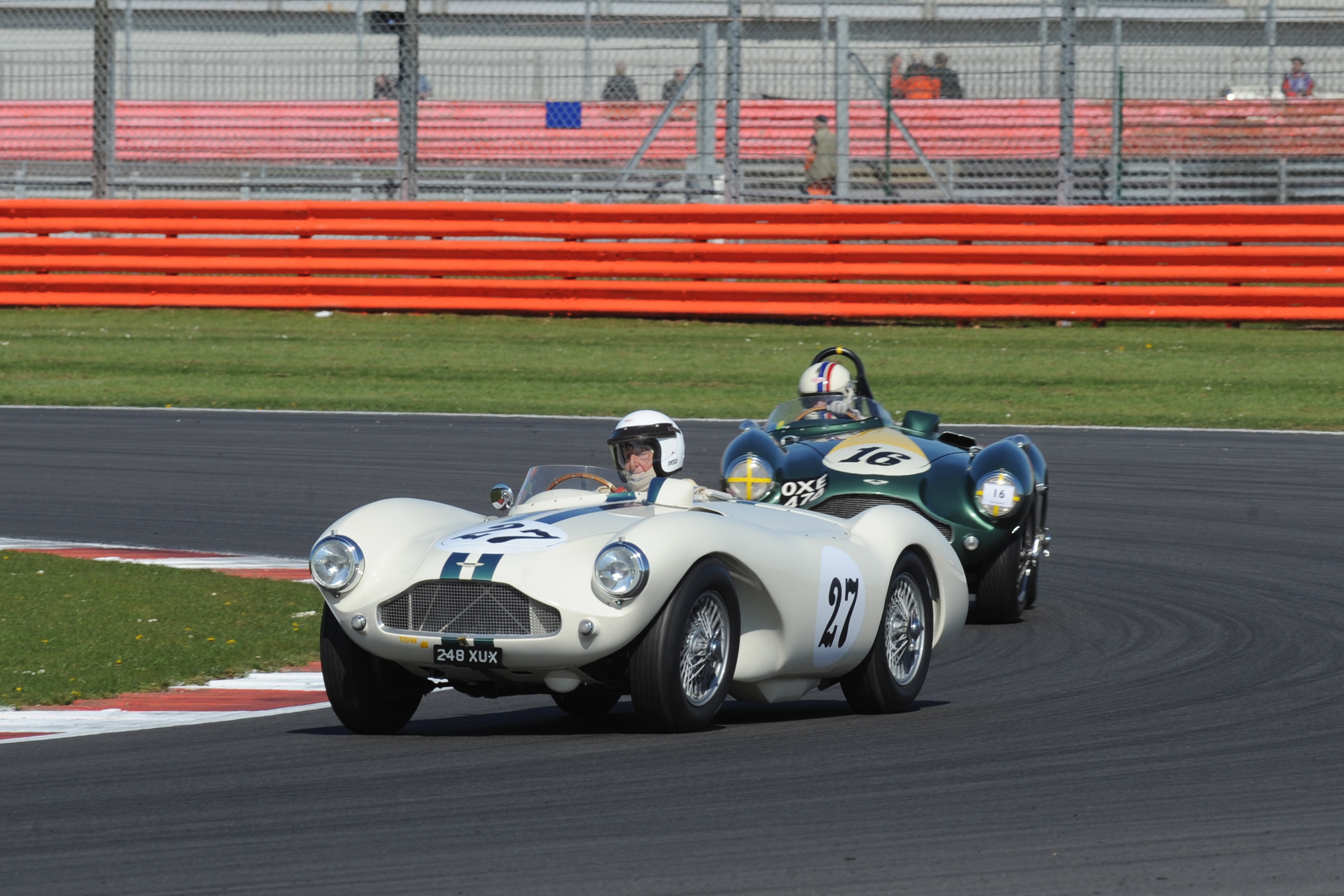 The Aston martin DB3s - I say it every year but surely one of the finest looking sports racing cars from any era. David Bennett and Steve Boultbee-Brookes pilot theirs - what a splendid sight                         Photo - Jeff Bloxham