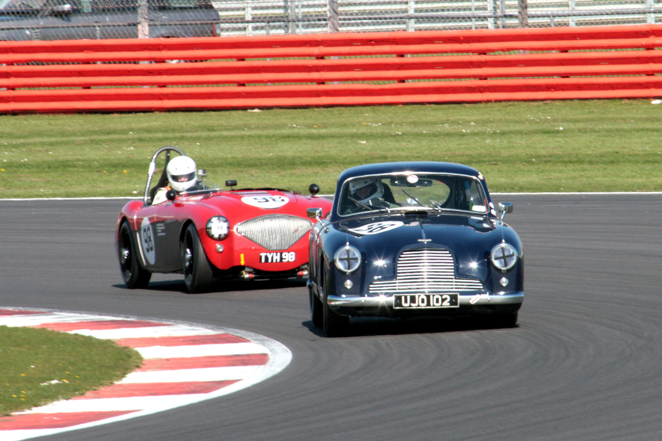 Nigel Batchelor (Aston DB2/4) and Nick Matthews (Austin Healey 100/4) finishedthis close together in 9th and 10threspectively                                              Photo - John Turner