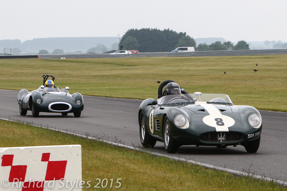Steve Hart (Maserati 300S) and Robi Bernberg (Cooper Bobtail) entertained us throughout the race. Here, they head into Agostini