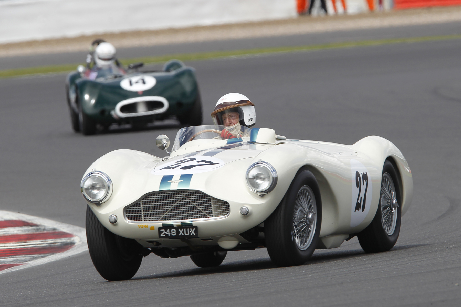 Beautiful study of David Bennett's Aston Martin DB3S. Alex Quattlebaum holds on behind in the little LECo  Photo - Mick Walker