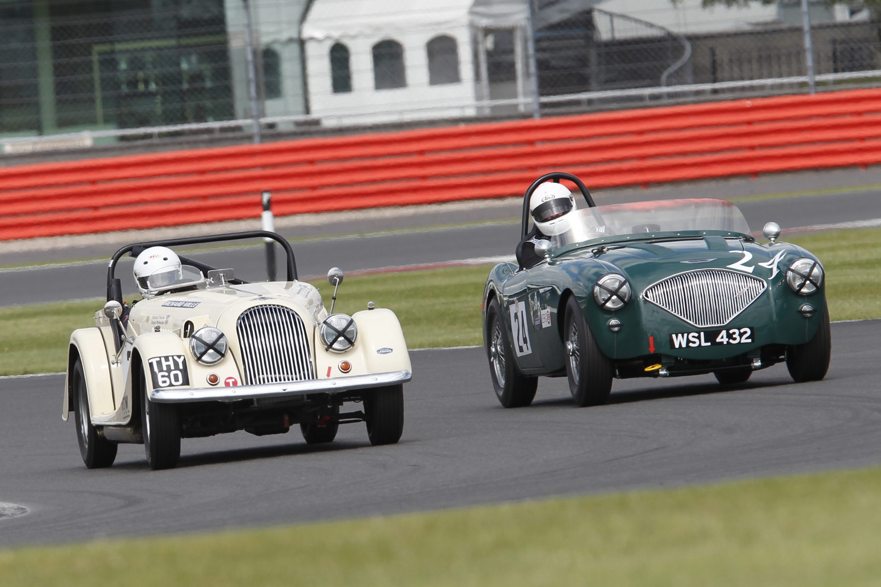 Richard Thorne and Jim Campbell kept each other company in the race as well as qualifying. Unfortunately the battle did not go to the flag as Richard had to retire the Morgan                                           Photo - Mick Walker