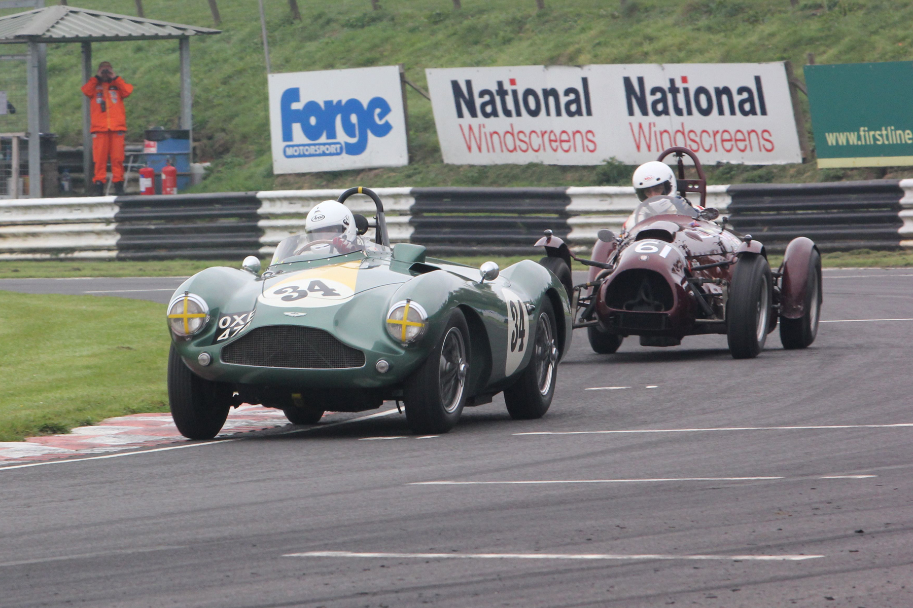 Steve Boultbee Brooks and John Ure. This photo was taken during qualifying (the marshal gives it away!) but it reflects exactly their closeness during the race                                  Photo - Pat Arculus, Tripos Media