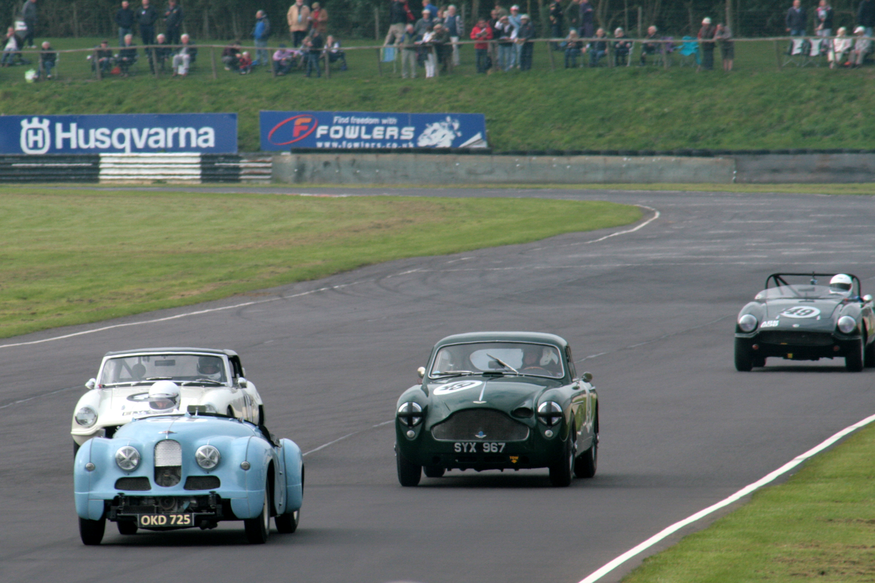 An eclectic mix in qualifying! Richard Gane's Jowett Jupiter leads Jonathan Loader in Bruce Chamber's Elva Courier followed by Chris Woodgate and Sean Kukula, in Aston Martin DB MKIII and Elva Courier respectively, both of which were owned and raced by the late Jon Gross  Photo - John Turner