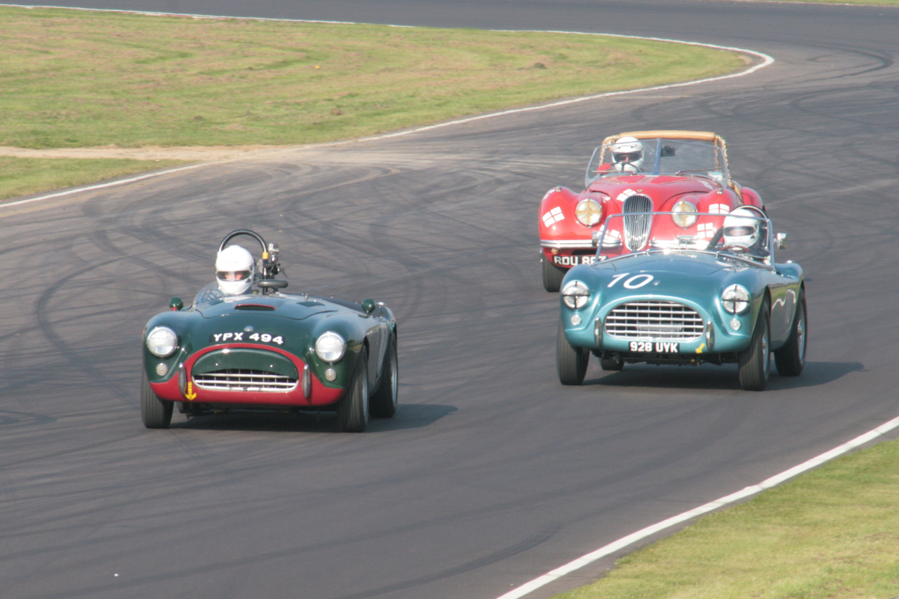 Aces High. The Pearce and Cottingham Aces together, with the Geoff Ottley/Kevin Zwolinski XK120 behind.     Photo - JohnTurner