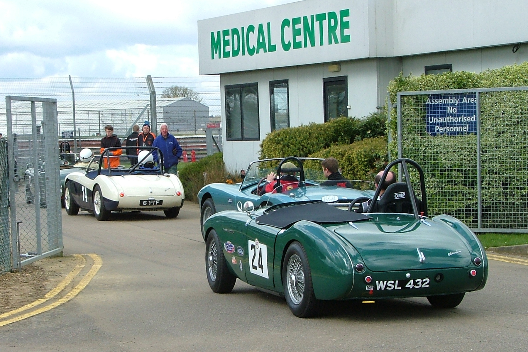 FISCAR founder member, Jim Campbell (Austin Healey 100/4) follows David Cottingham (AC Ace) and Matthew Collings (A-H 100/4) out in readiness for qualifying  Photos - John Turner
