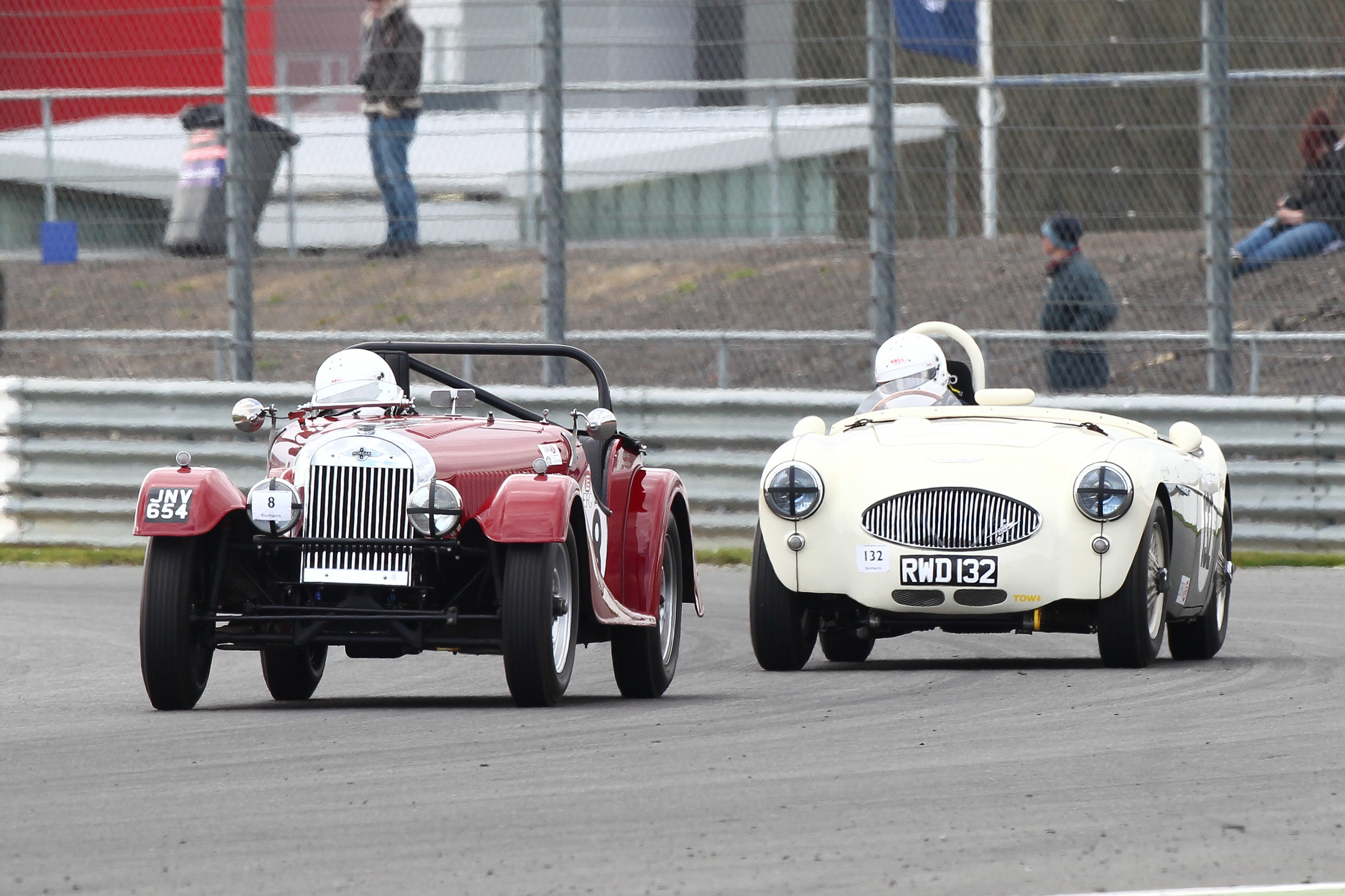 Peter Cole in Leigh Sebba's Morgan Plus 4, followed here by Patrick Rignell in the equally rare Austin Healey 100s, a car once campaigned by Lance Macklin.                                                    Photo - Richard Styles