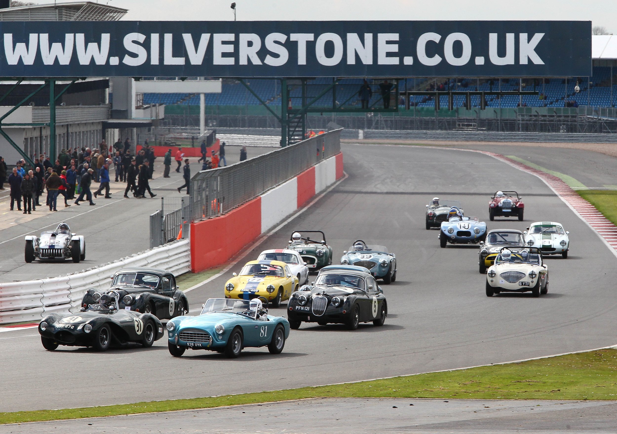 Whilst the equally exciting back half of the grid come through Copse, headed here by Paul Griffin's Connaught ALSR  Photo - Richard Styles