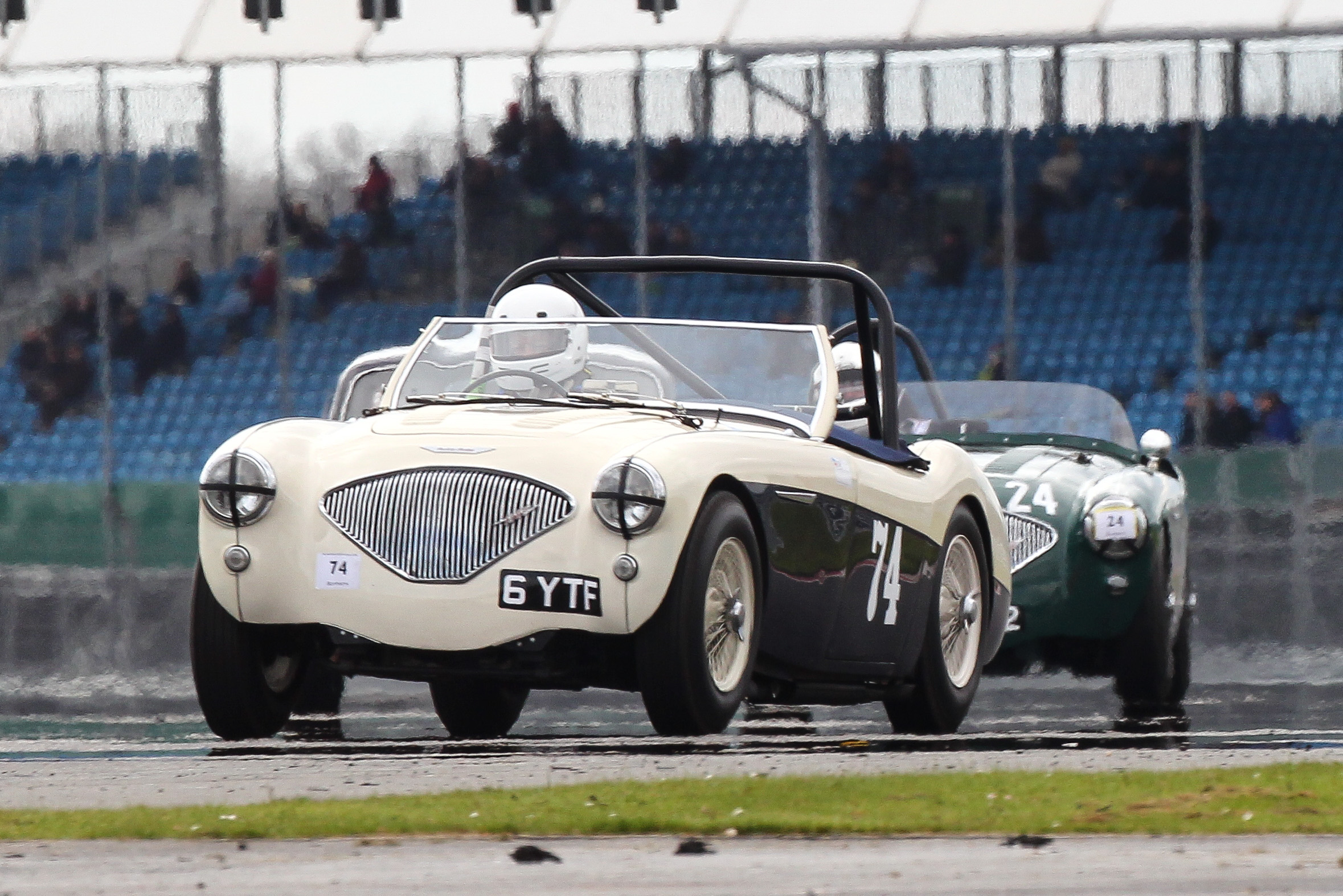 Matthew Collings in his Austin Healey 100M                                            Photo - Richard Styles