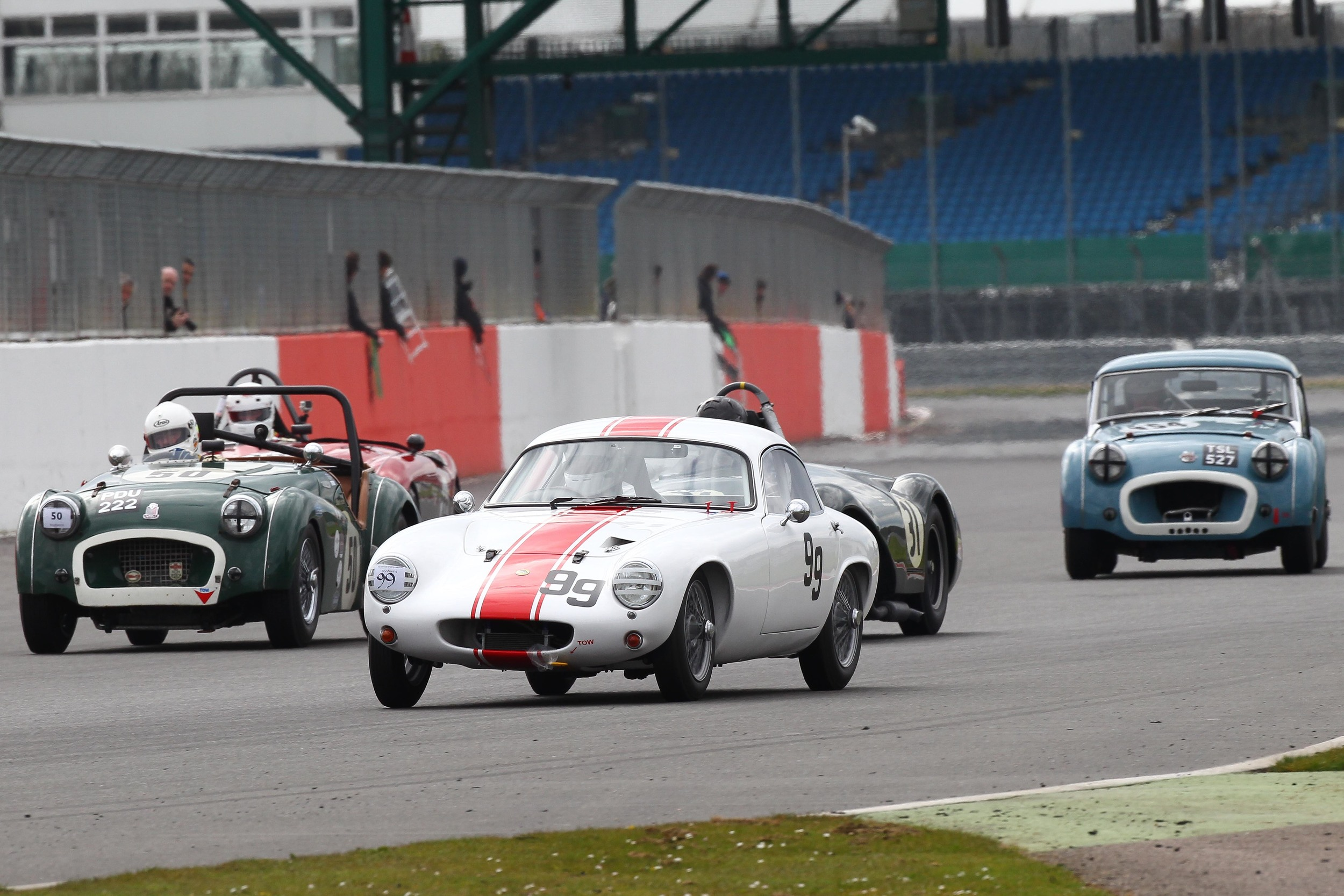 John Waterson in his Lotus Elite being surrounded                                          Photo - Richard Styles