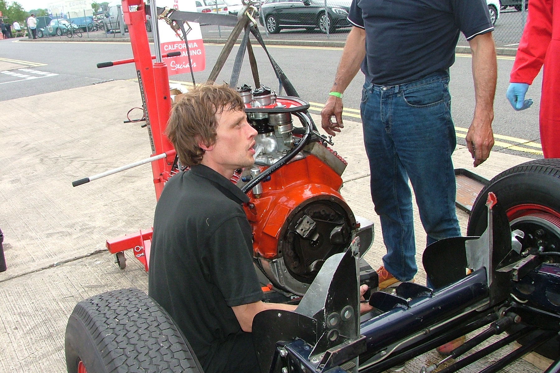 Engine out of the Baldwin Mercury Special at Silverstone, the day before it was due to run at Snetterton. Photo - John Turner