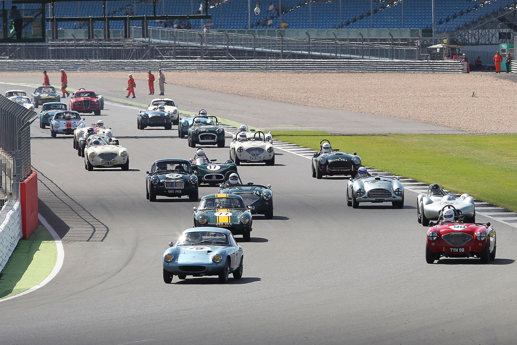 Green Flag lap. The orderly queue is the giveaway. Compare with photo of start. Photo - Mick Walker.