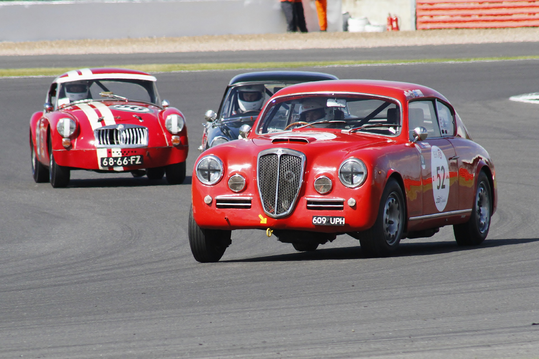 Jason Kennedy, Keith Hampson & Shaun Bromley in Lancia, Sunbeam & MGA respectively  Photo - Bob Bull, Tripos Media