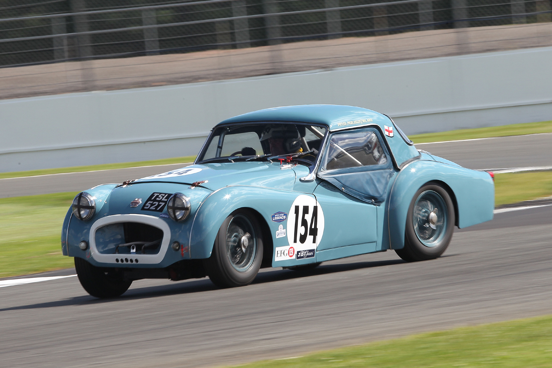 Ditto, from Paul Ziller in his Hard top version. It' s been a real joy to see two TRs running regularly with us this season.  Photo - Mick Walker