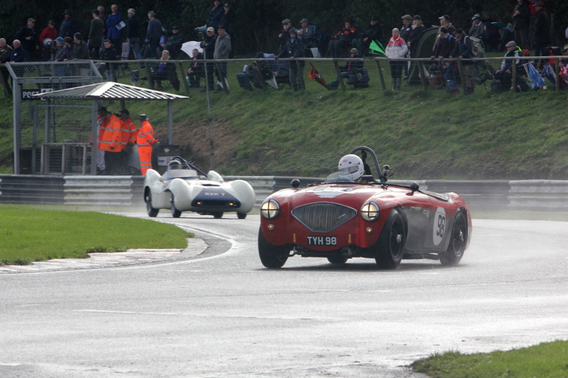 Nick Matthews on his way to a fine 2nd place in his Austin Healey 100/4                               Photo - Pat Arculus, Tripos Media