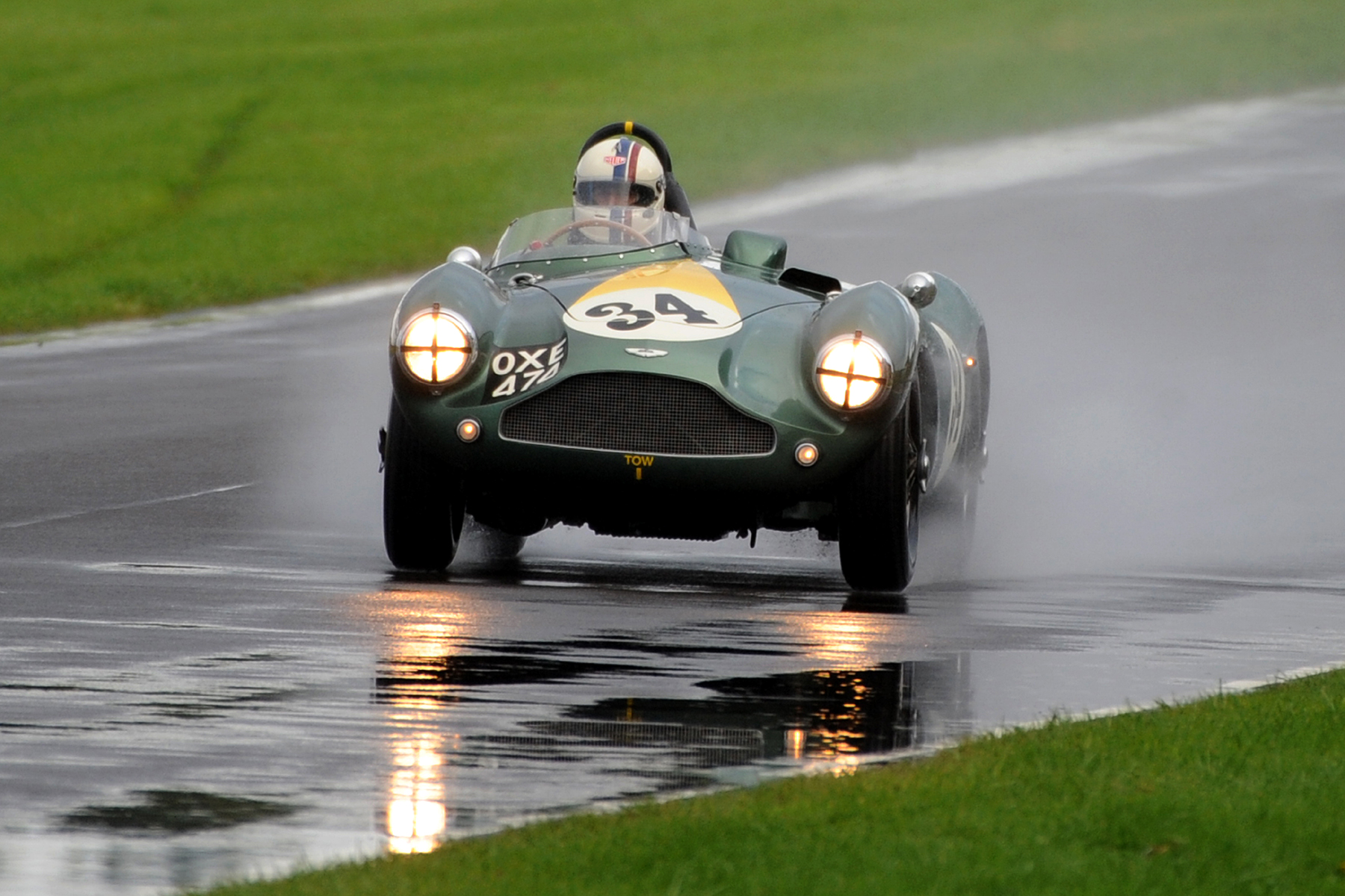 Steve Boultbee-Brooks completes the first lap in splendid isolation in the beautiful DB3S  Photo - Jeff Bloxham.