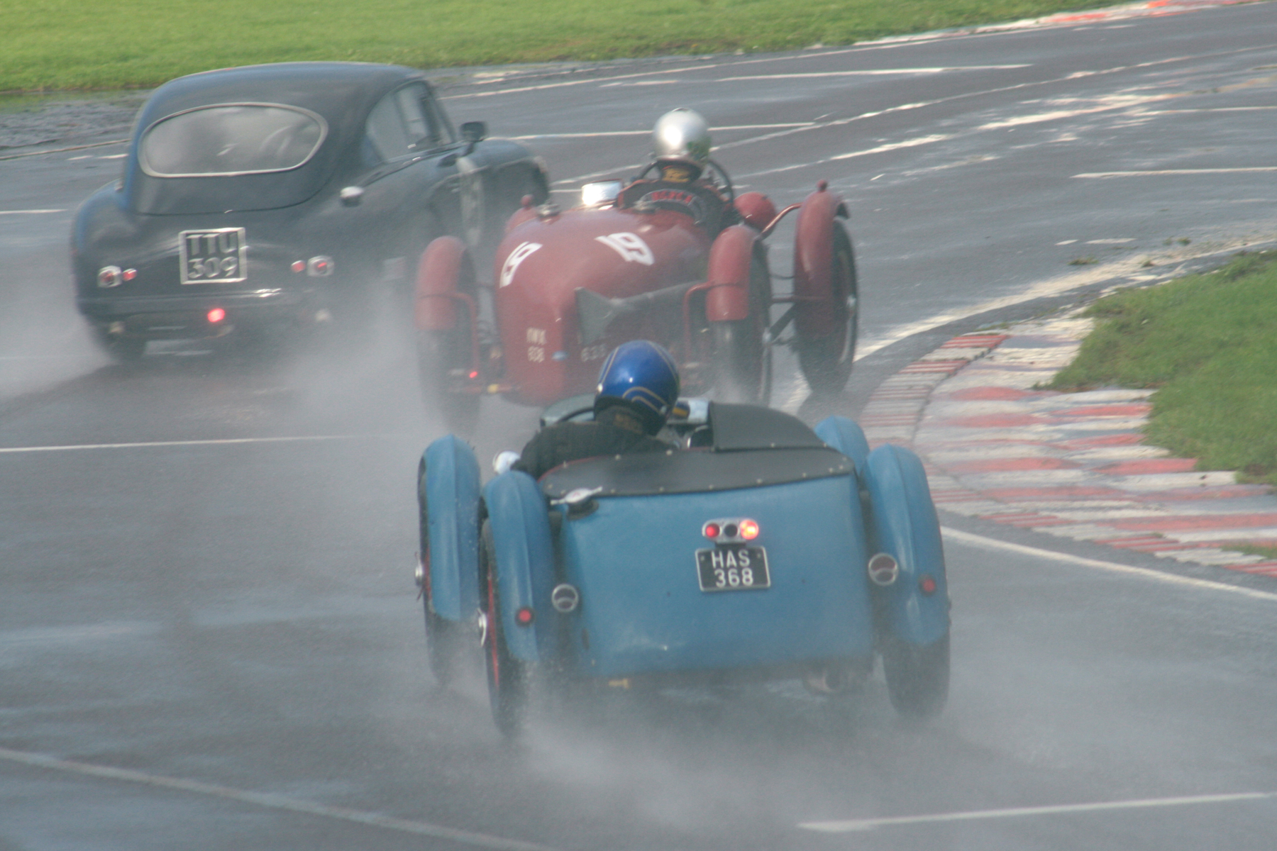 Mark Gillies attempting to go up the inside of Nick Ruddell having already displaced Sam Stretton  Photo - John Turner
