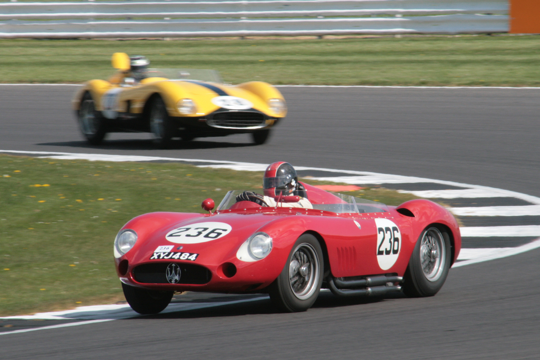 The Maserati now up to 2nd but the Ferrari behind has regained the track quickly.                                                Photo - John Turner