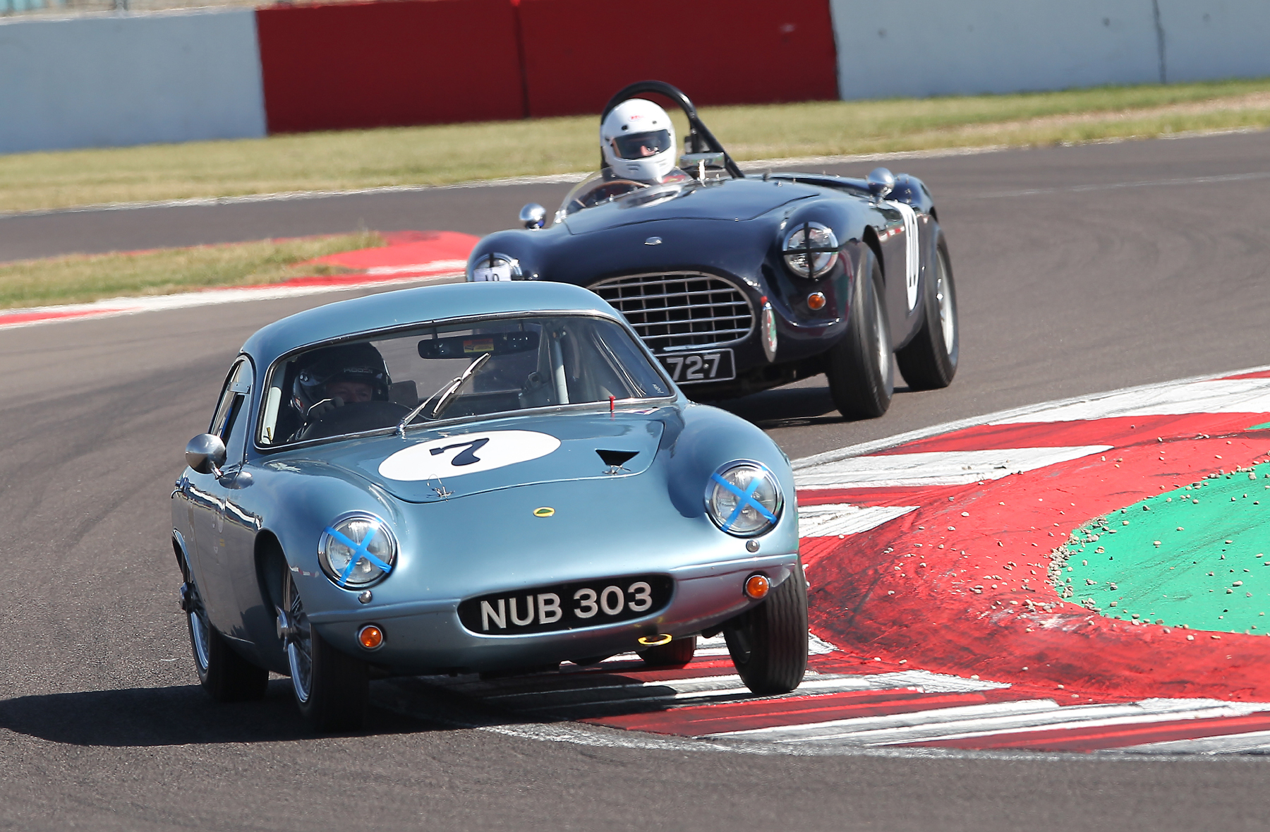 Brian Arculus took FISCAR honours at Donington in a mixed grid of cars, finishing 7th overall. Here, he is followed by Justin Becket in his AC Ace Bristol  Photo - Mick Walker