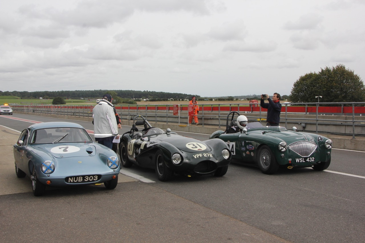 The first 3 - Lotus Elite, Connaught ALSR & Austin Healey 100/4 . Photo - Pat Arculus, Tripos Media