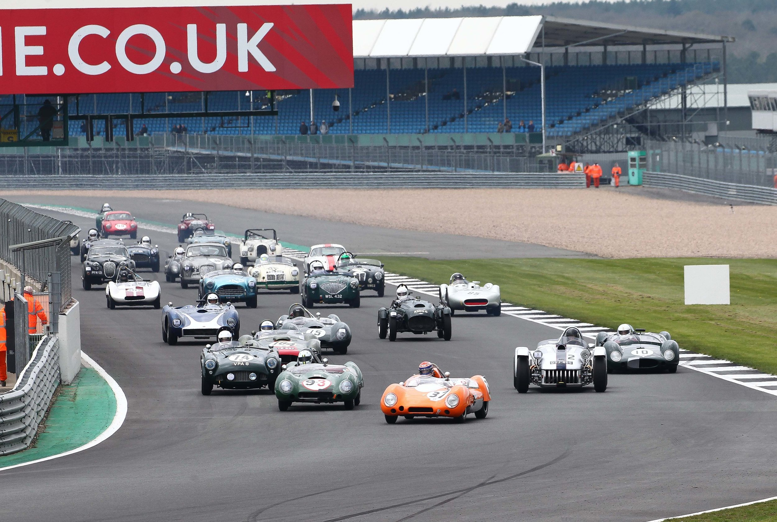 Philiip Walker (Lotus 15) leads the pack away at the start. Photo - Richard Styles
