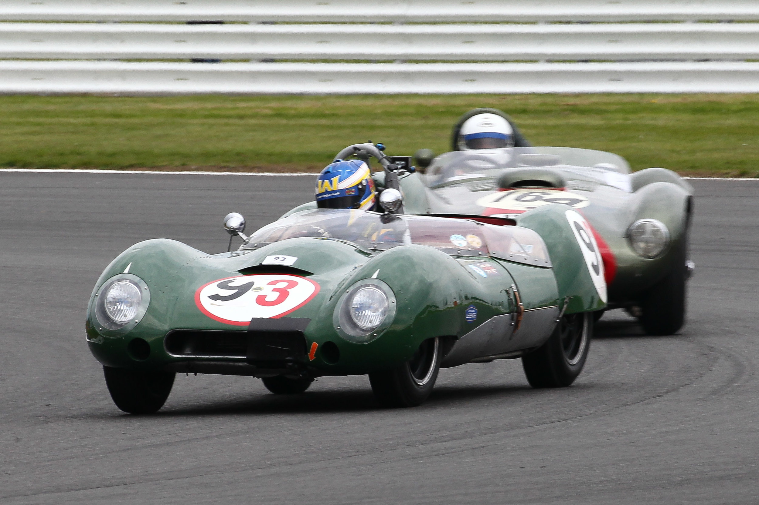 Note the change of helmet (but whose?) in the Hartogs Lotus 15. It was the quickest car in the second half of the race and posted fastest race lap. Behind is the Farrallac. Photo - Richard Styles