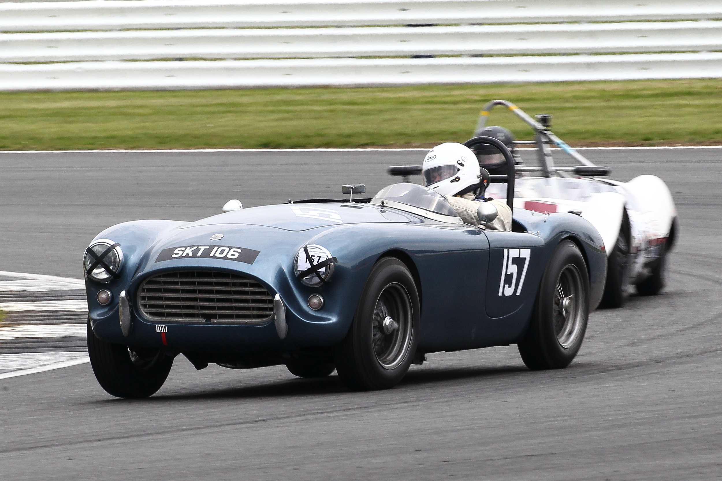 Mark Morgan working the wheel in his AC Ace . Photo - Richard Styles