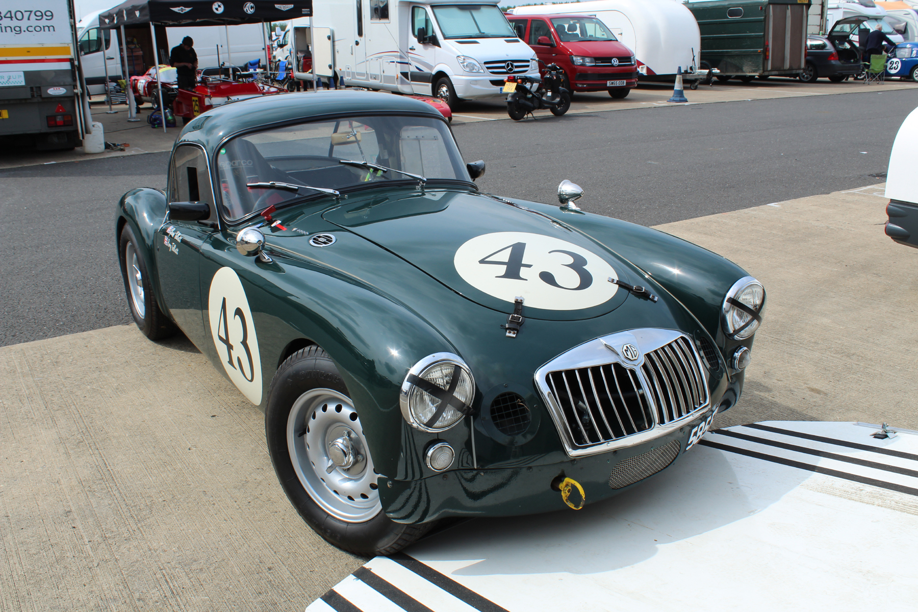 Glenn Tollett's MGA Coupe at repose prior to race. Photo - John Turner