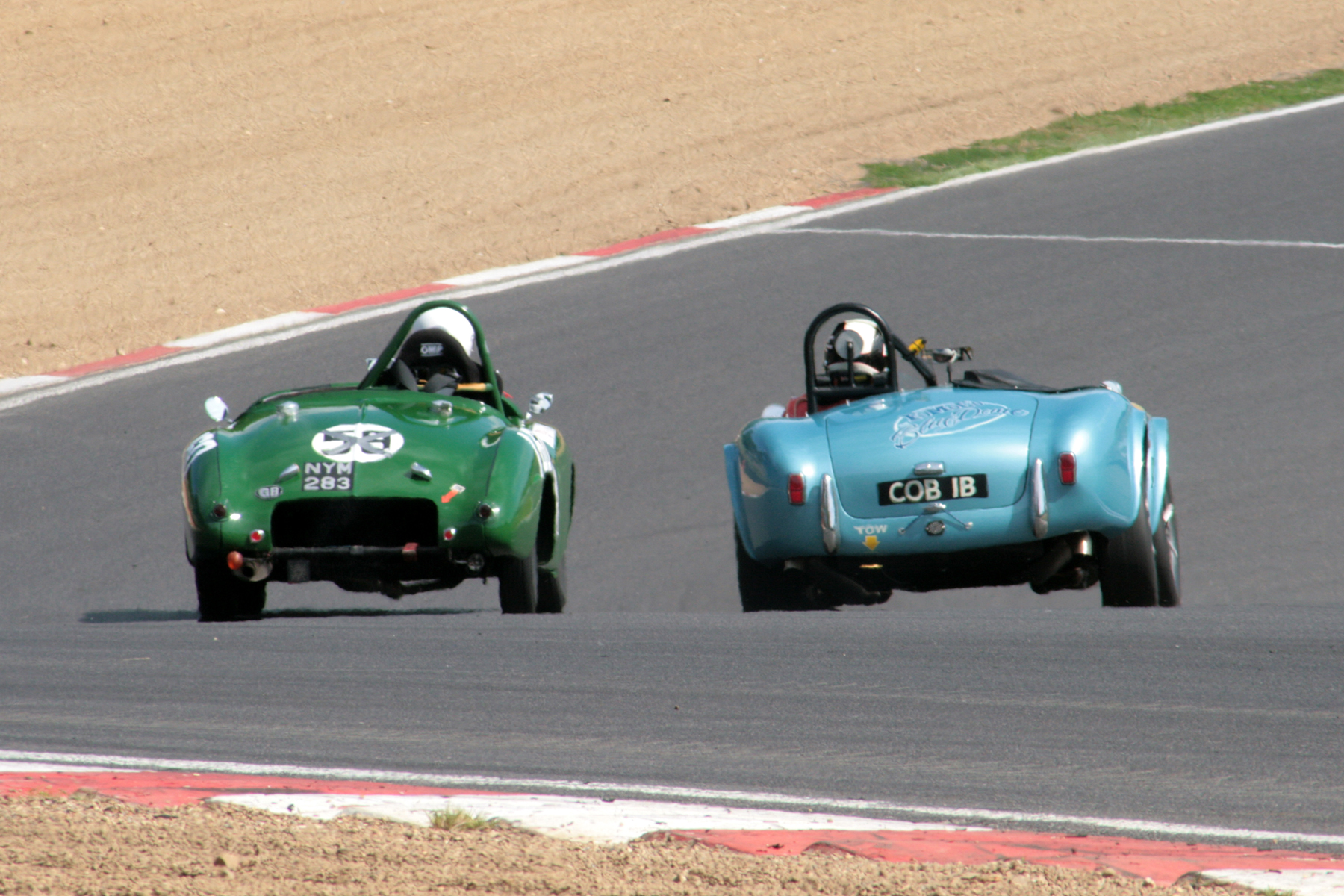 The fastest and the slowest, but 13 years, 3.2 litres, 250 bhp, fatter tyres, not to mention broadness of beam, separates Harry Naergar's 1951 Jowett Jupiter & Kevin Kivlochan's 1964 AC Cobra. Of course the AC Ace from which the Cobra was developed was a little closer to the Jowett in age terms but unlike the AC, the later R4 version of the Jowett Jupiter was, sadly, Jowett's last throw of the dice - only 3 were built!