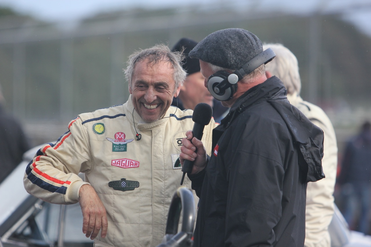 Steve Boultbee - Brooks being interviewed at Castle Combe in 2016 after his victory in our Inter-Marque race in the Aston DB3S  Photo - Pat Arculus
