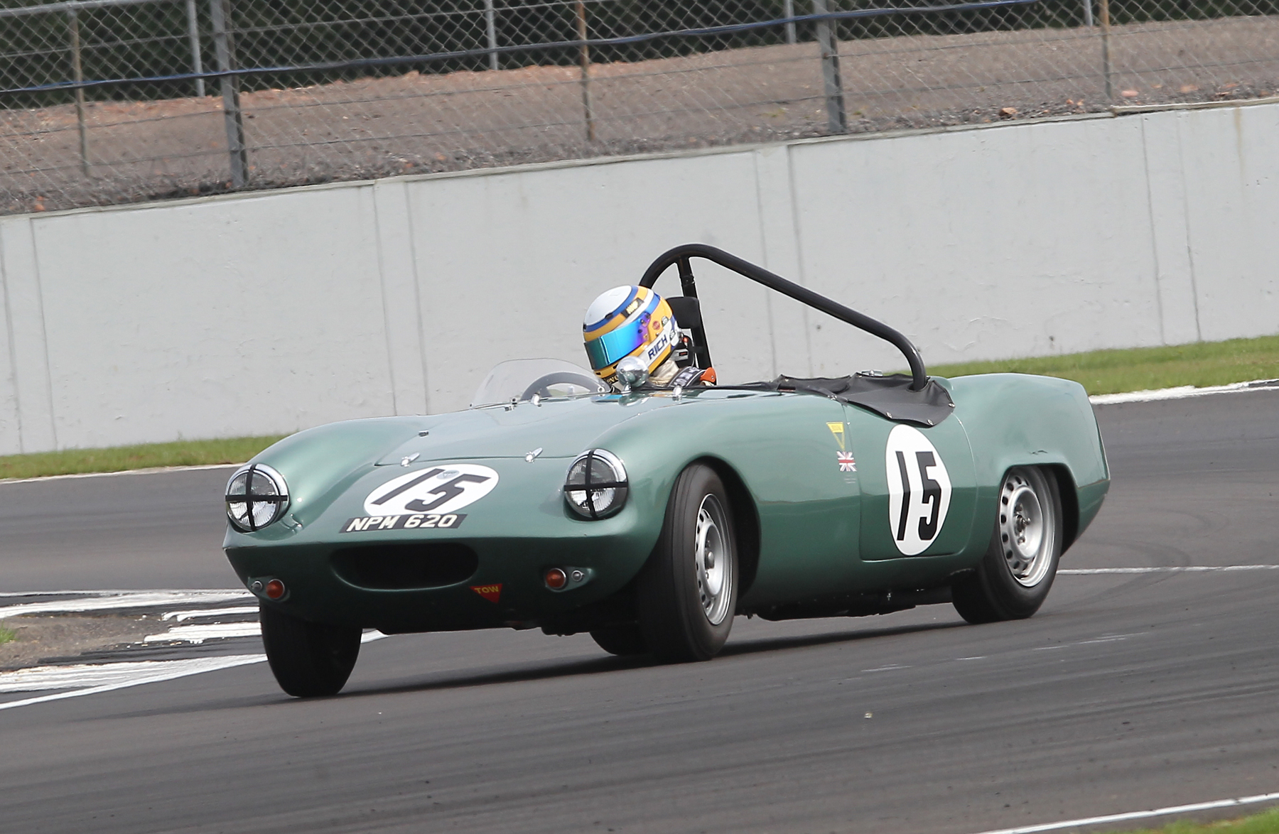 A bit of opposite lock from Richard Woolmer, leading very comfortably in the Elva Courier  Photo - Mick Walker