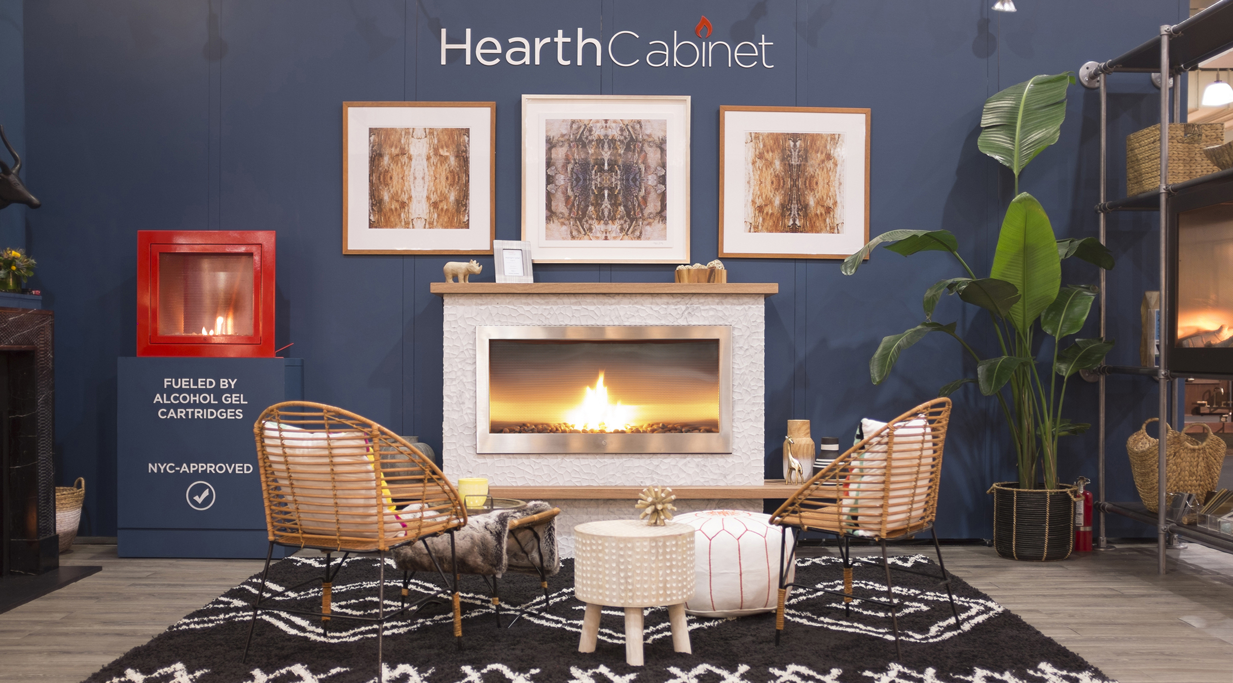 """Campion Platt took our booth on a """"Midnight Safari"""".    We're excited for you to see photos from our booth at the recent ICFF show. It was our most beautiful booth yet thanks to Campion Platt, Chesney's mantels, TileBar, and artist Dagmara Weinberg."""