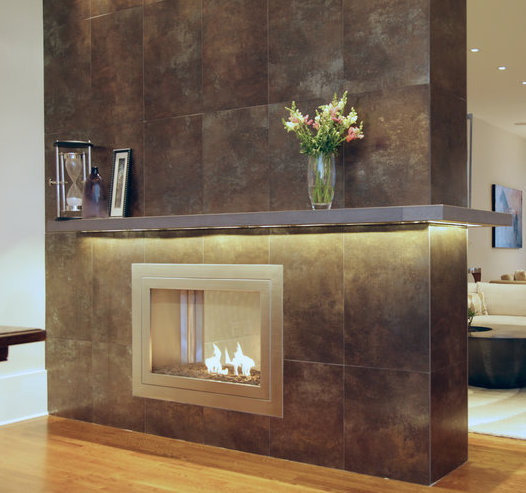 Custom See-Through Ventless Fireplace, finished in Stainless Steel  Designer: Carolyn Pressly Interiors