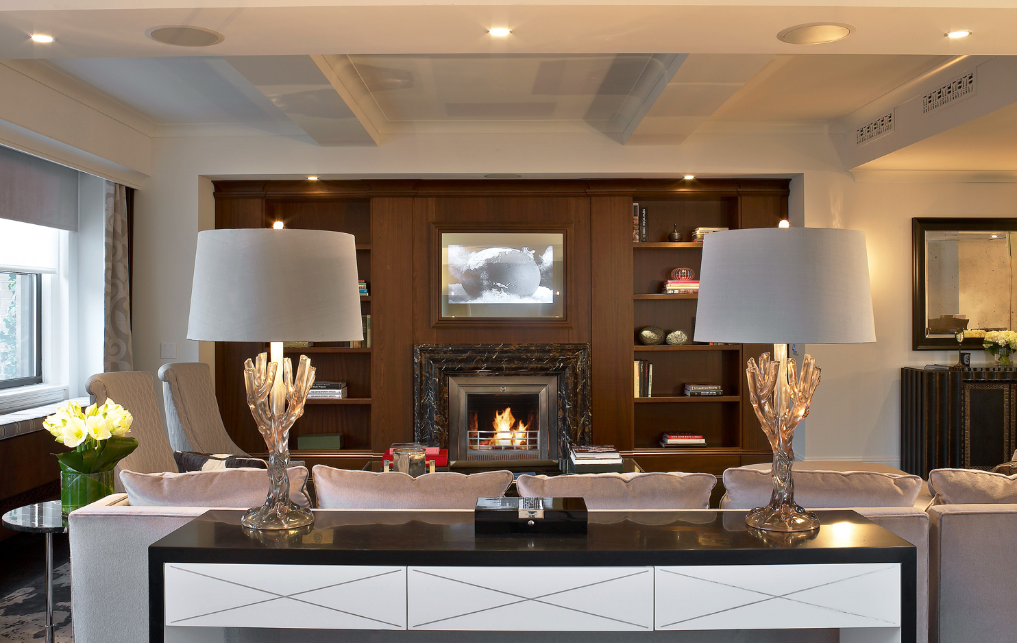 "Designer: Rottet Studio | Architect: Stonehill & Taylor Architects | Ventless Fireplace: Custom unit - Stainless Steel with Edwardian grate - 38"" W x 37"" H x 11.5"" D"