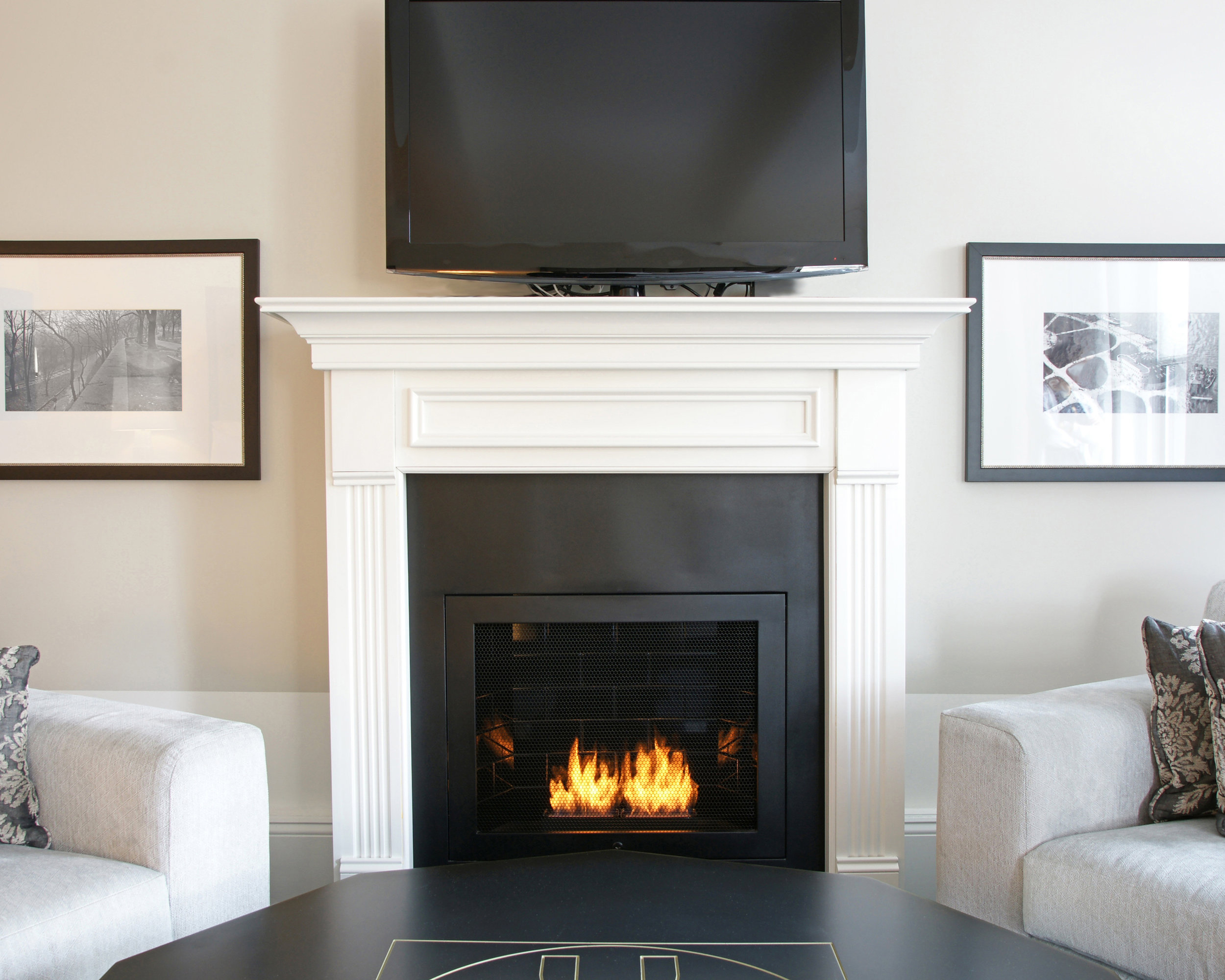 "Designer: Rottet Studio | Architect: Stonehill & Taylor Architects | Ventless Fireplace: Custom unit - Black Powder Coated Steel - 34"" W x 40"" H x 11.5"" D (outside dimensions)"