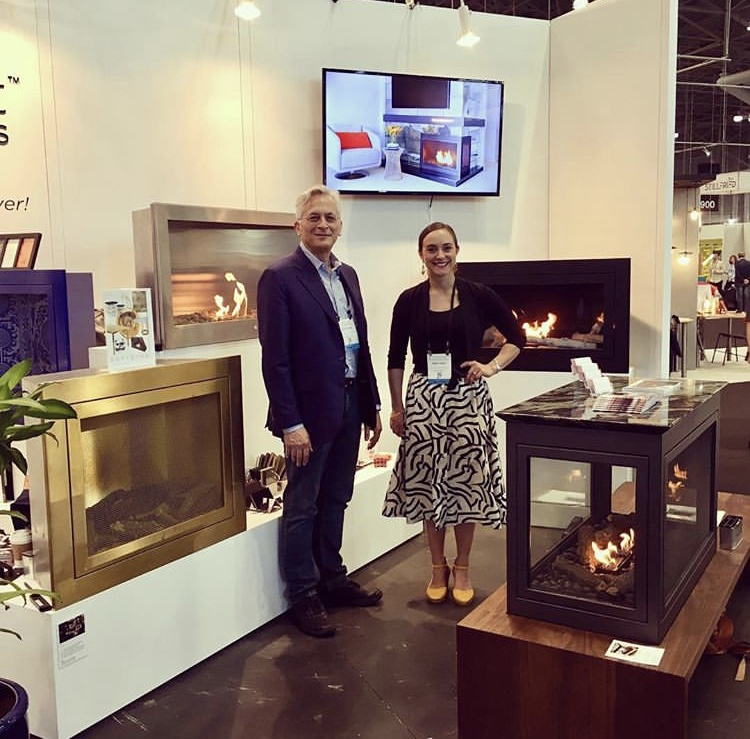 Sara Check with HearthCabinet® Ventless Fireplaces' President Arthur Lasky at ICFF 2018