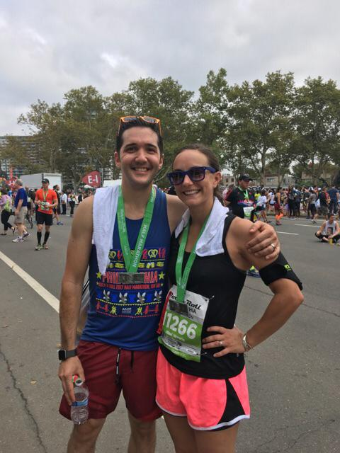 Sara Check with her husband John after the 2017 PA Marathon