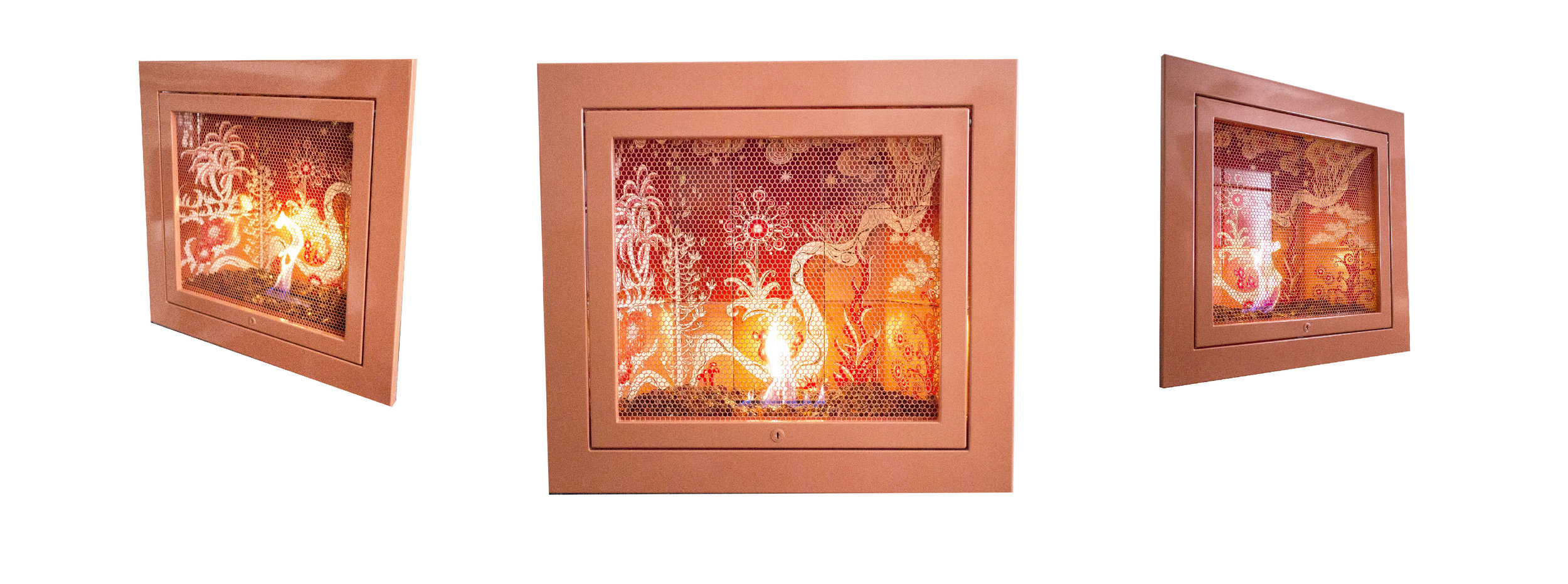 Living Coral KI™ Series by HearthCabinet® Ventless Fireplaces  Hand-Painted tile by  Melinda Mezey