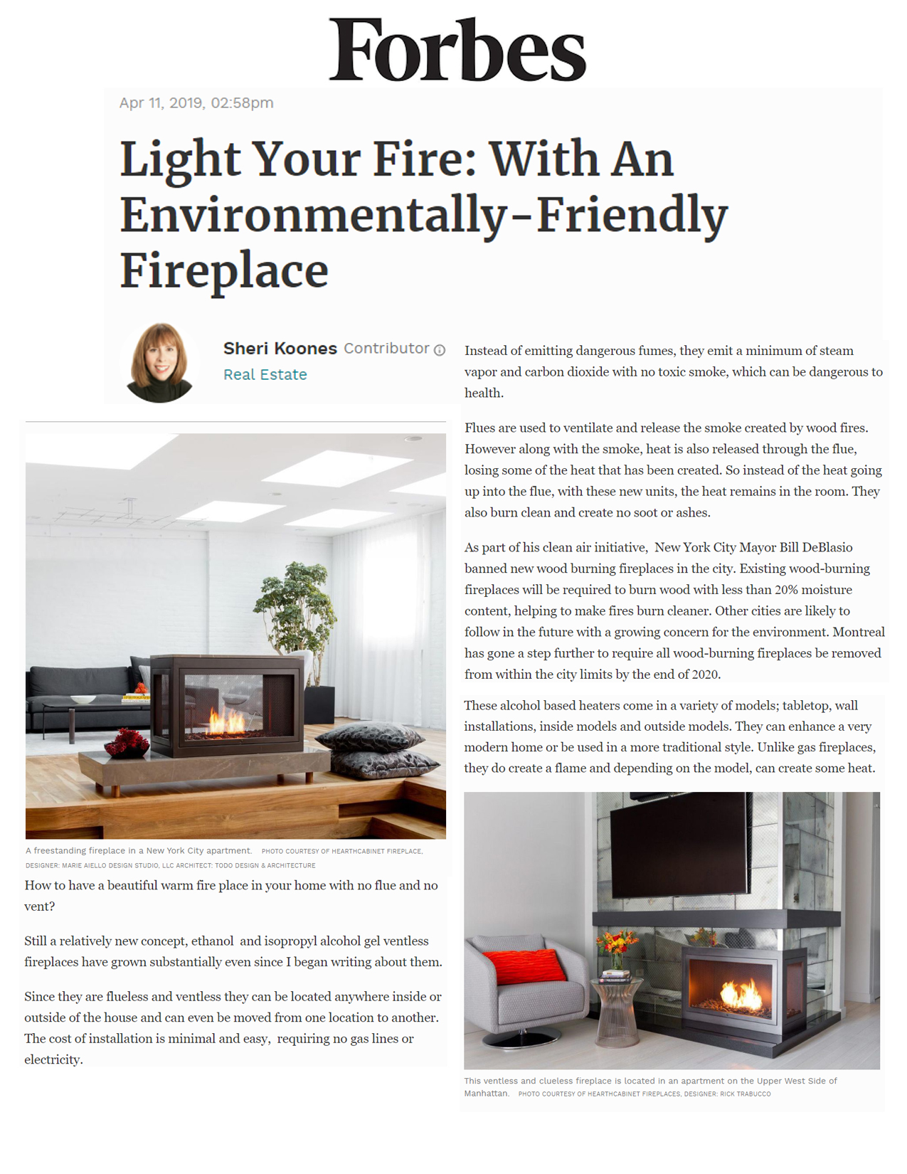 HearthCabinet Press & Media Stories About Ventless Fireplaces