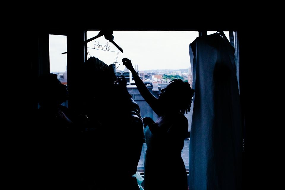 Wedding dress with custom hanger