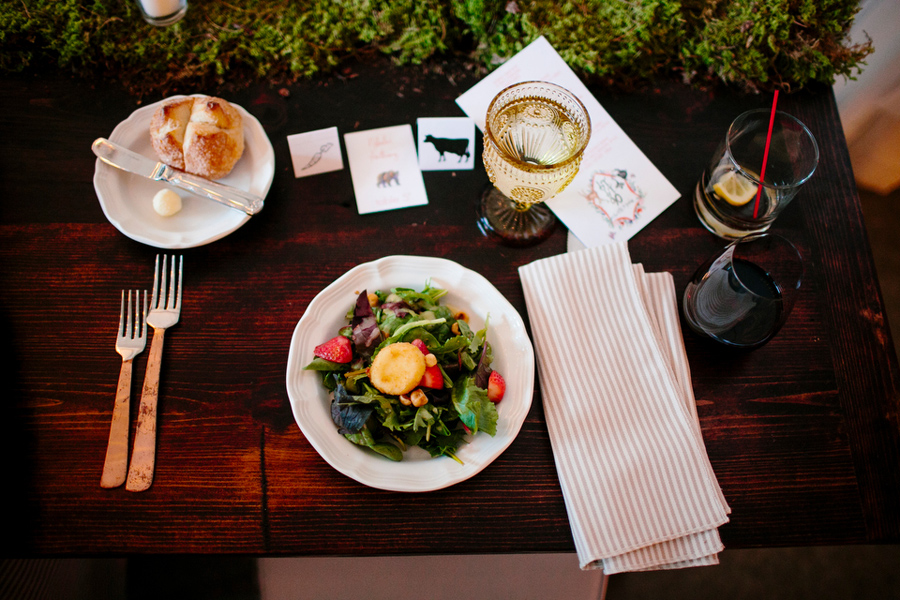 salad and table