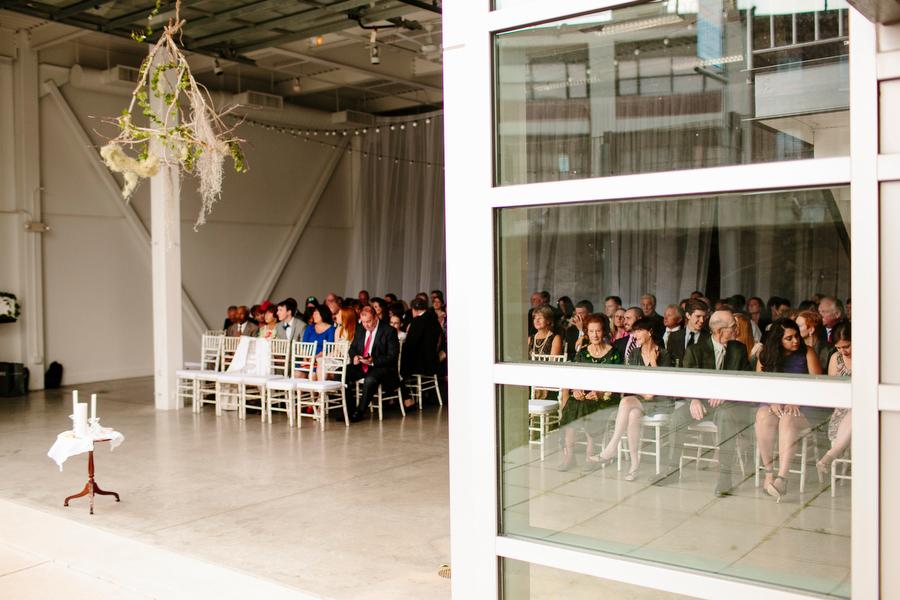 Ceremony open to outside behind garage door