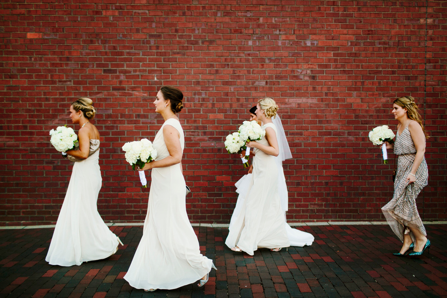 Bridal Party walking through boston