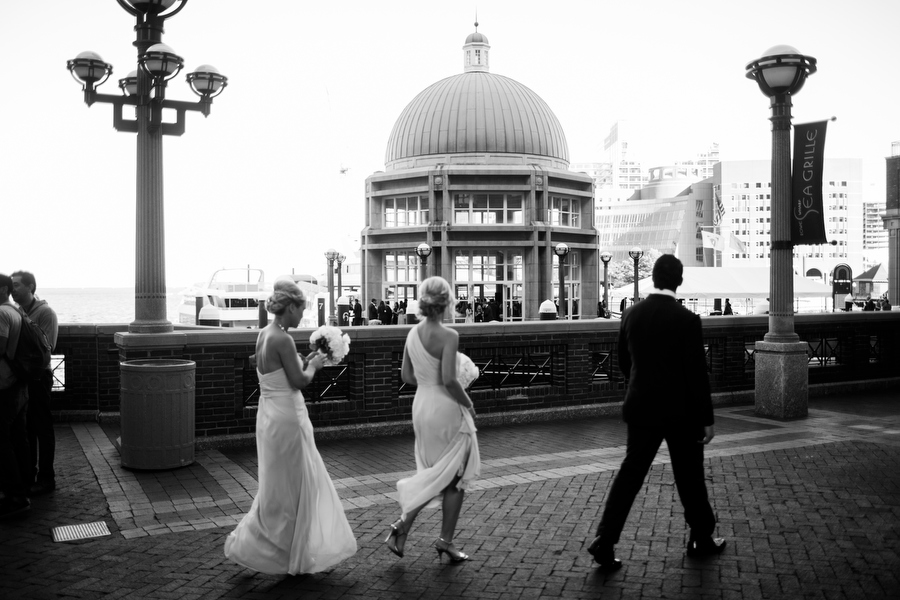 Bridal Party in front of Boston Harbor Hotel