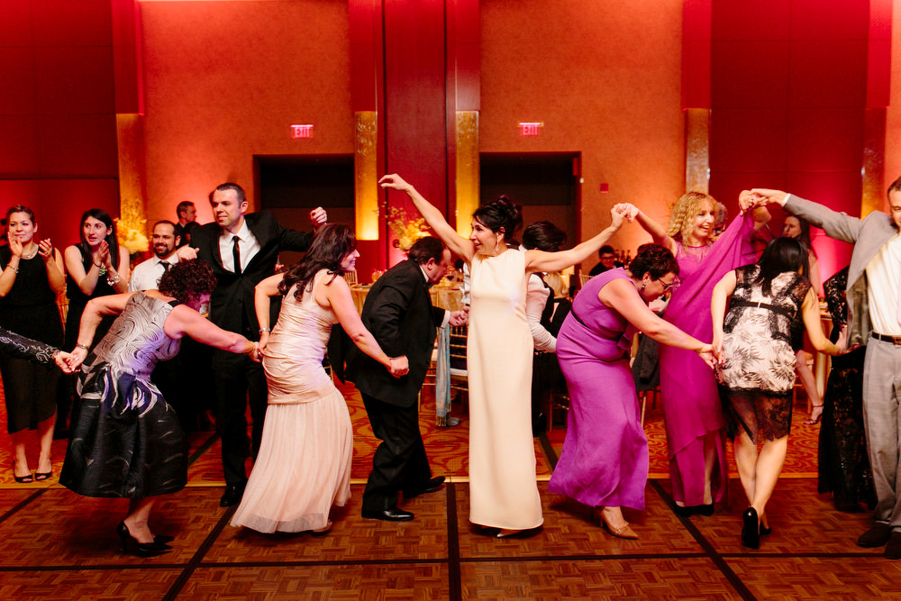guests doing the horah at wedding
