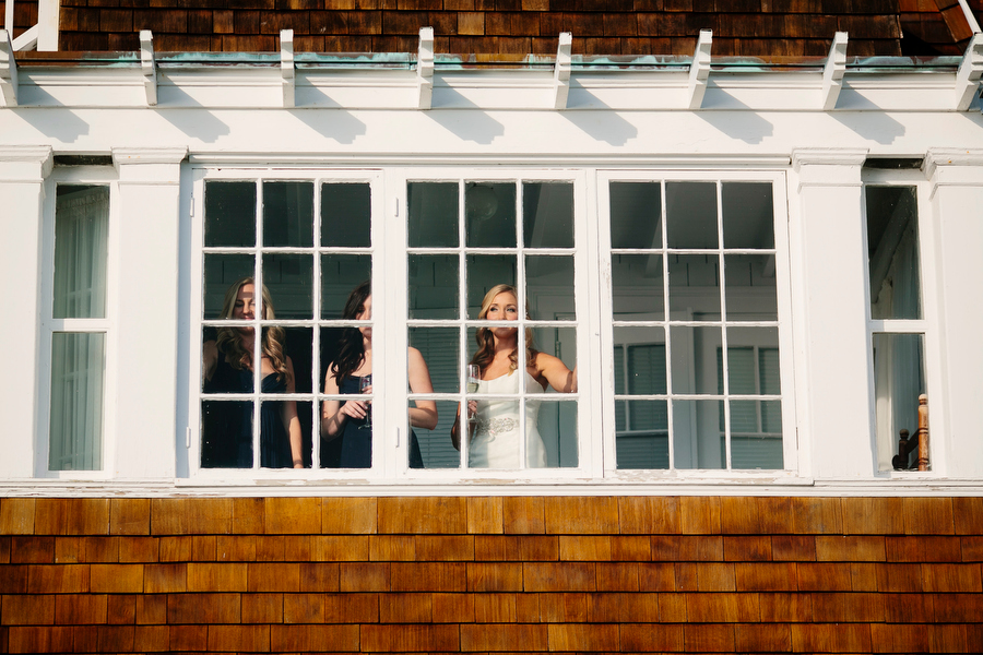 bridal party looking out window